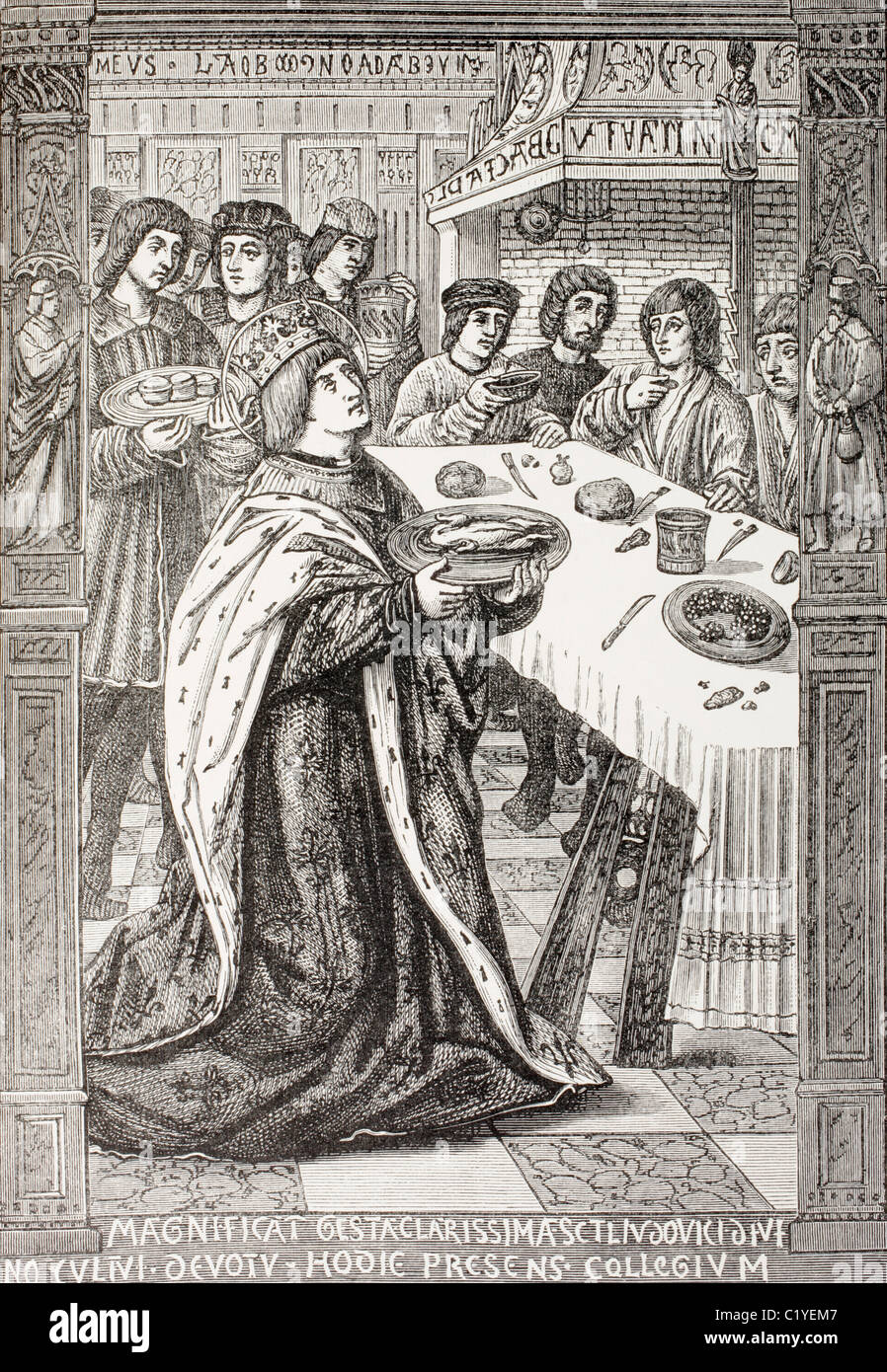 San Luis, el rey Luis IX de Francia, 1214 - 1270, sirviendo comida a los pobres. Foto de stock
