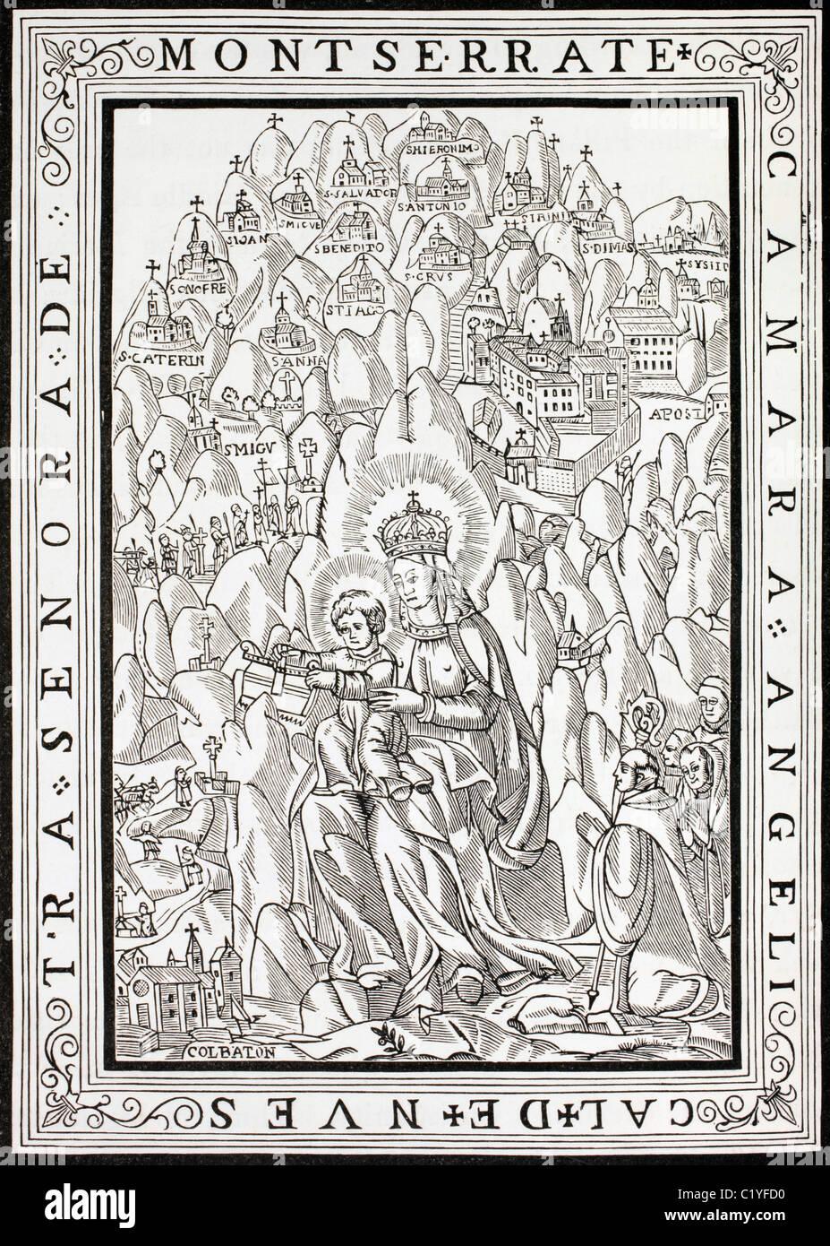 Nuestra Señora de Montserrat con la inscripción en español diciendo morada celestial de Nuestra Señora Imagen De Stock