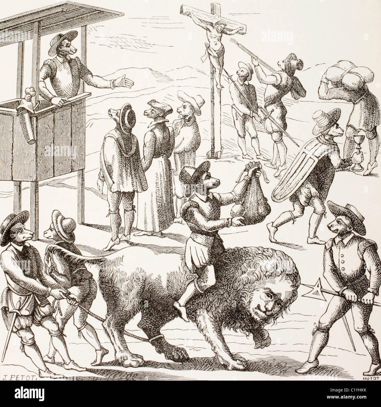 Imagen alegórica de excesos habrían sido cometidos por los hugonotes. Imagen De Stock