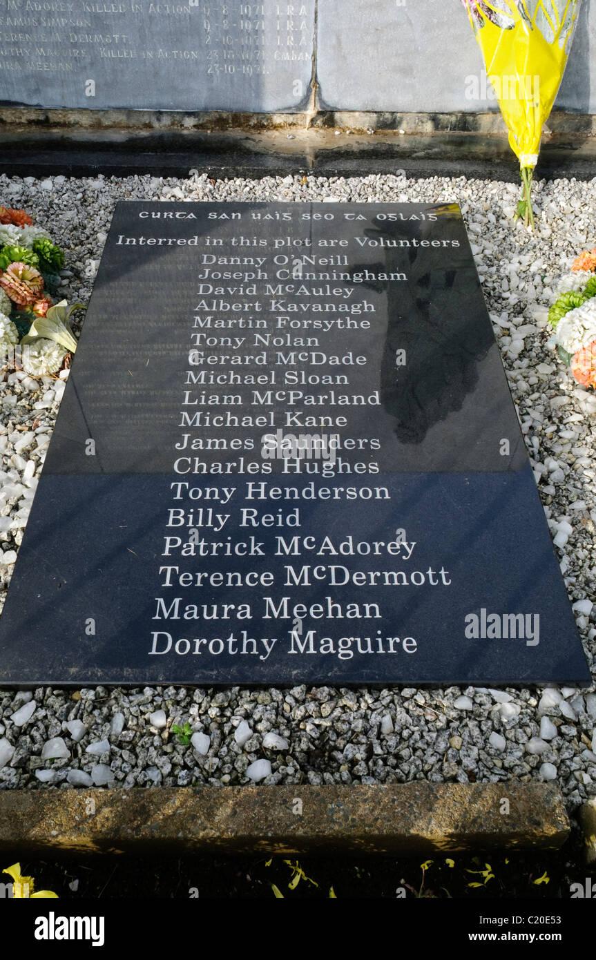 Los nombres de 18 voluntarios del IRA enterrado en el Condado de Antrim  complot republicano en 42884aa3e2f