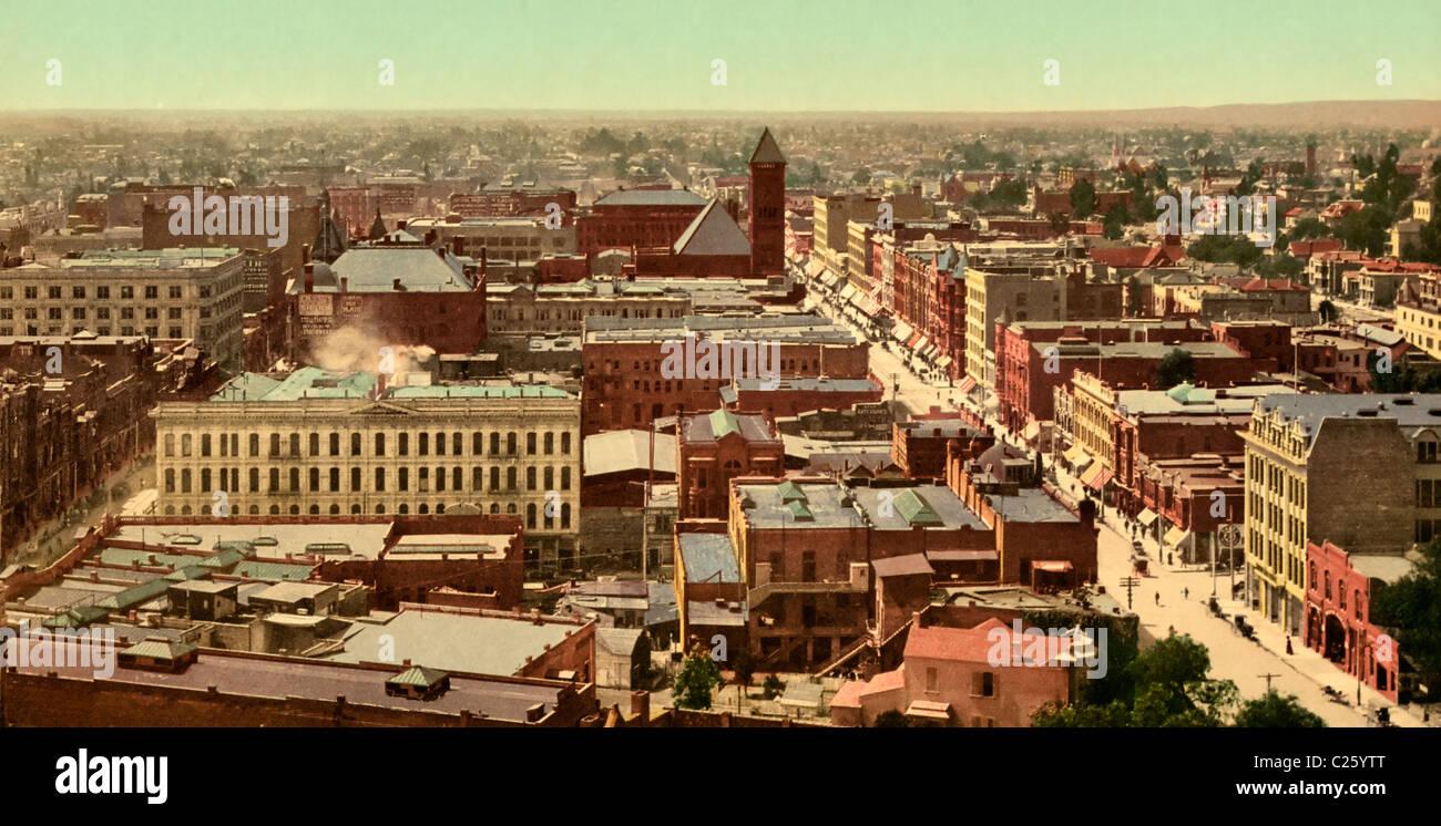 Panorama de Los Angeles, California, circa 1900 Imagen De Stock