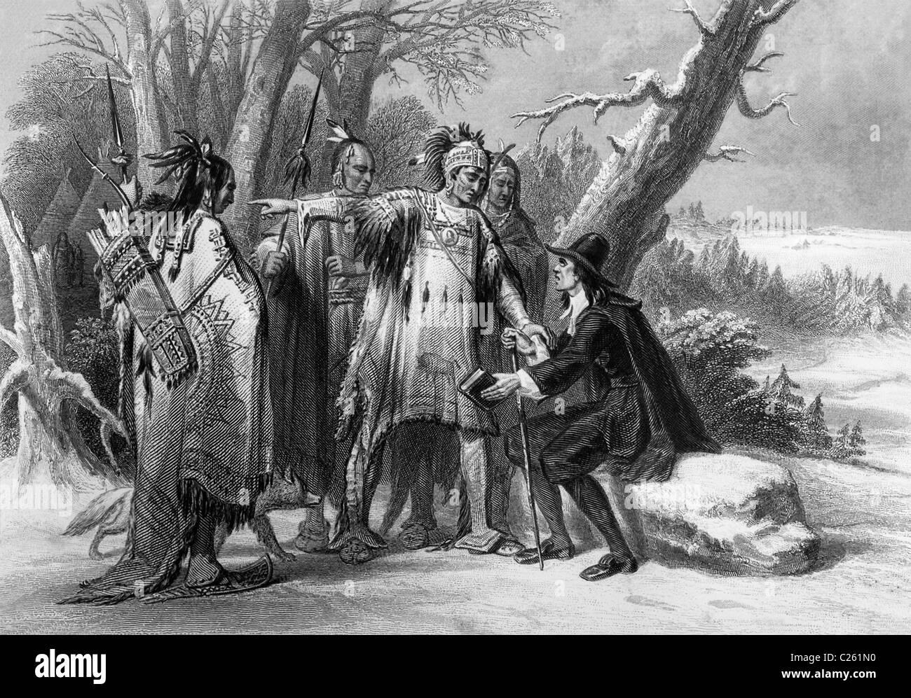 Roger Williams obtuvo el terreno de los Narragansetts y fundó Providence Plantation en Rhode Island. Foto de stock