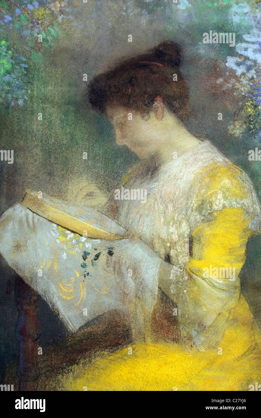Detalle: Madame Arthur Fontaine (Marie Escudier,), 1901, por Odilon Redon, Imagen De Stock