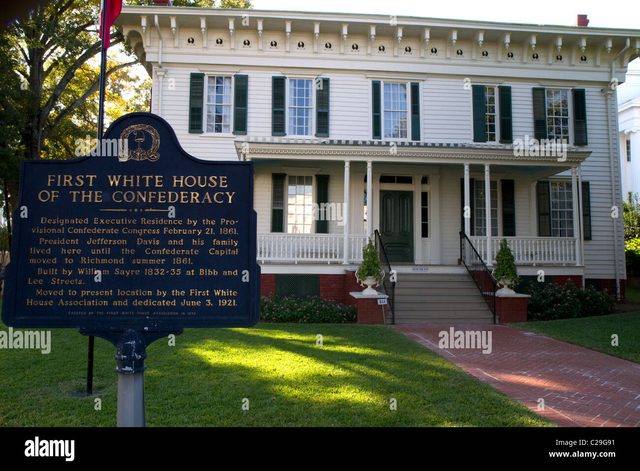 La primera casa blanca de la Confederación fue la residencia del presidente Jefferson Davis en Montgomery, Alabama, Foto de stock