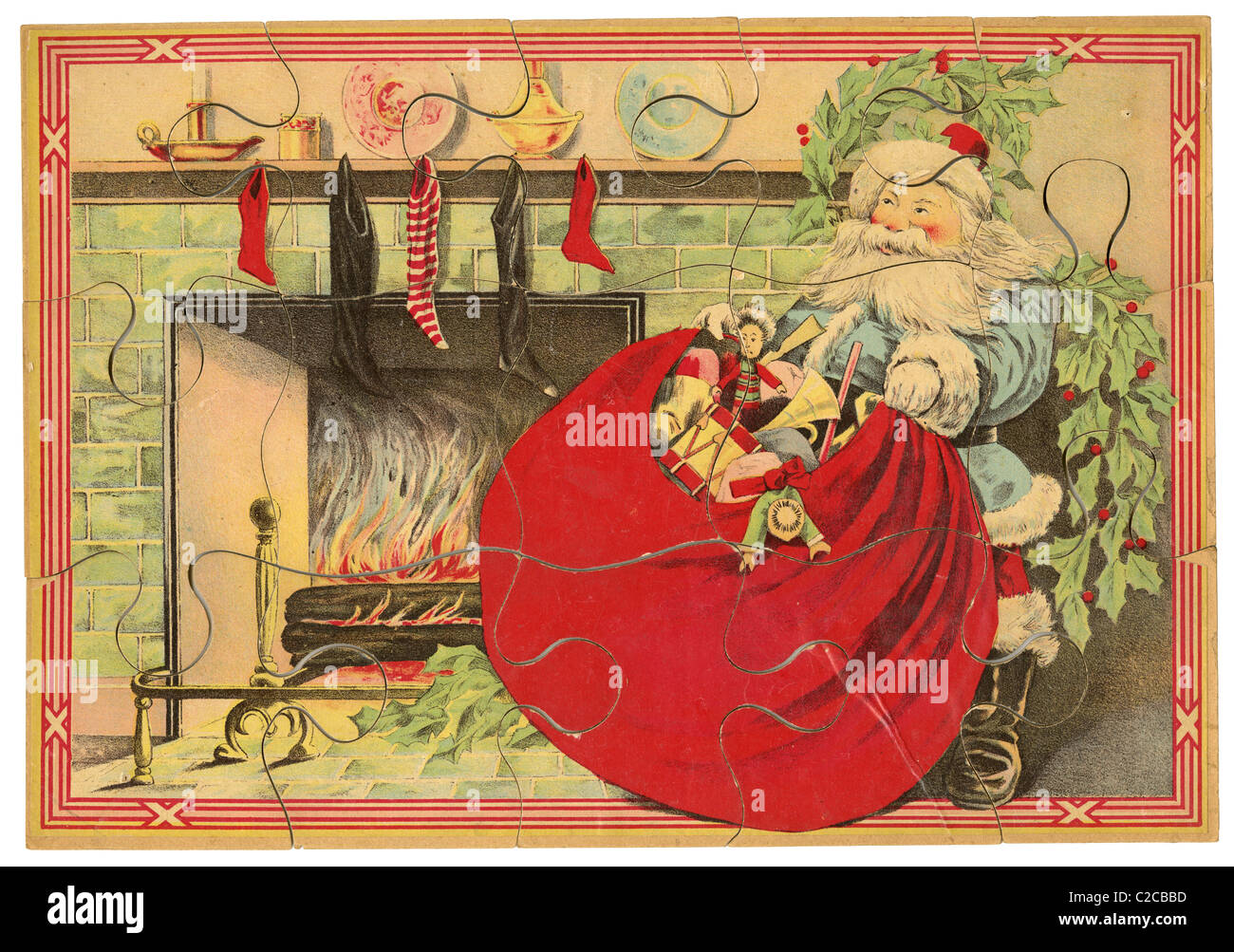Circa 1890 Santa Claus puzzle por Milton Bradley. Imagen De Stock