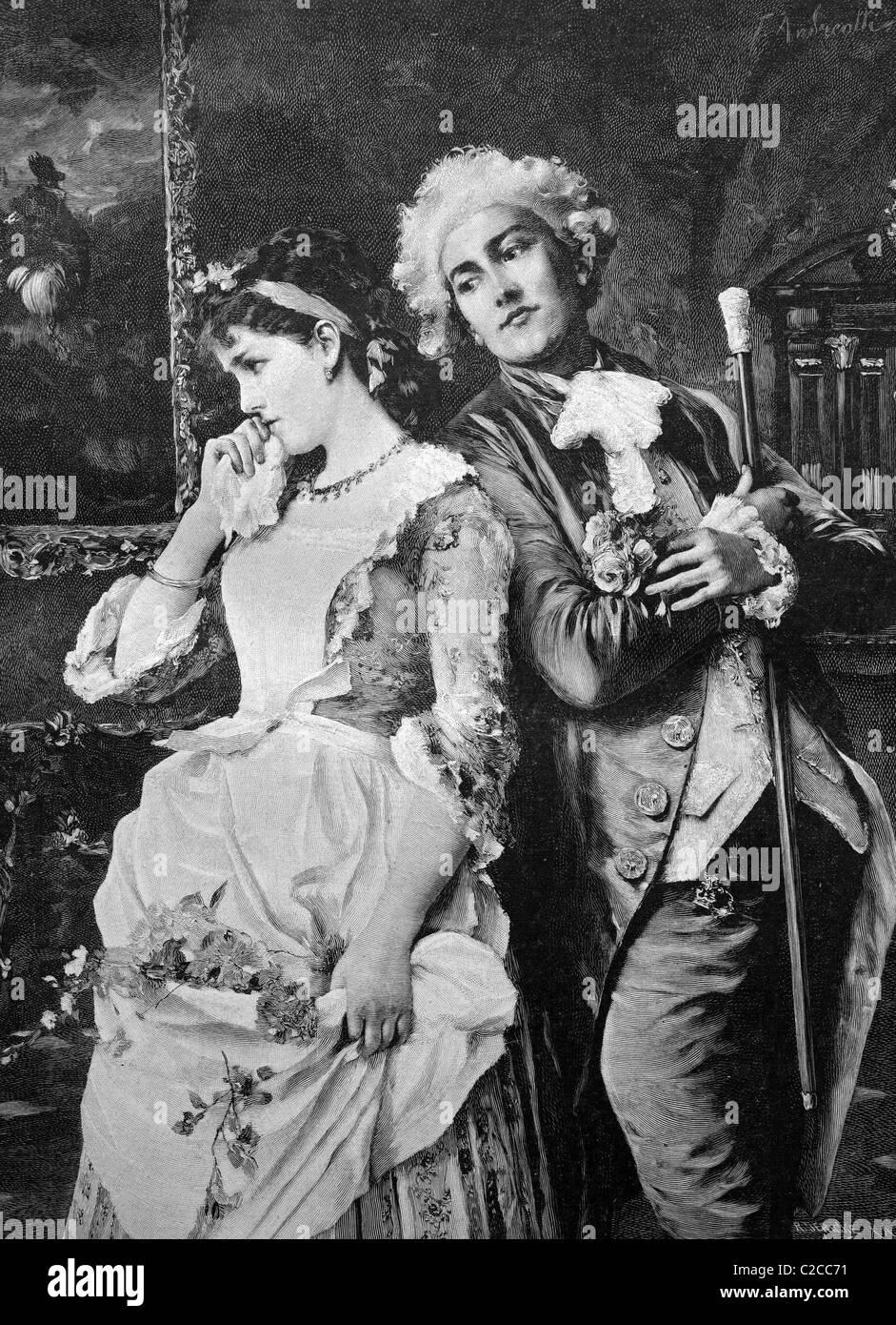 Pareja tímidas, ilustración histórica, ca. 1893 Imagen De Stock