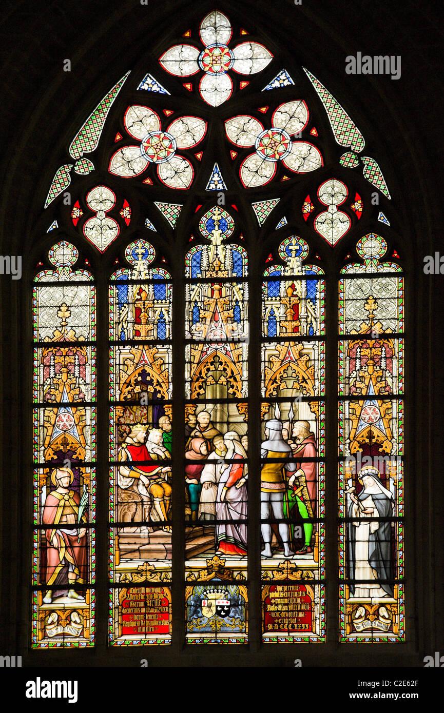 Vidriera de la Catedral de Bruselas, Bélgica Imagen De Stock