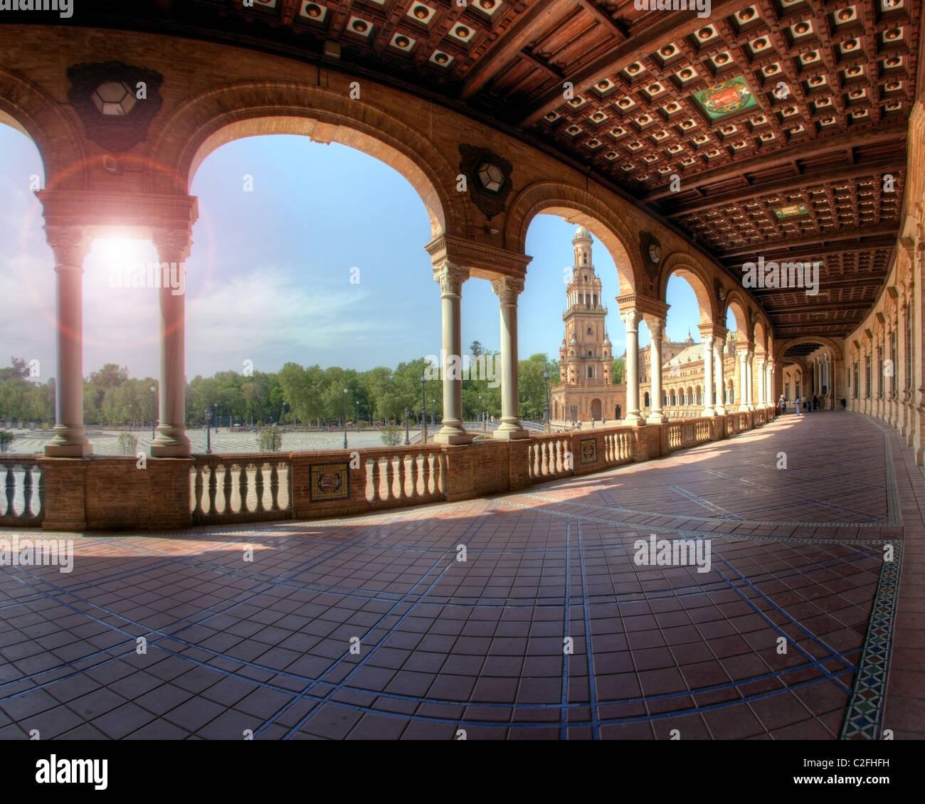 ES - Andalucía: Sevilla la famosa Plaza de España Foto de stock