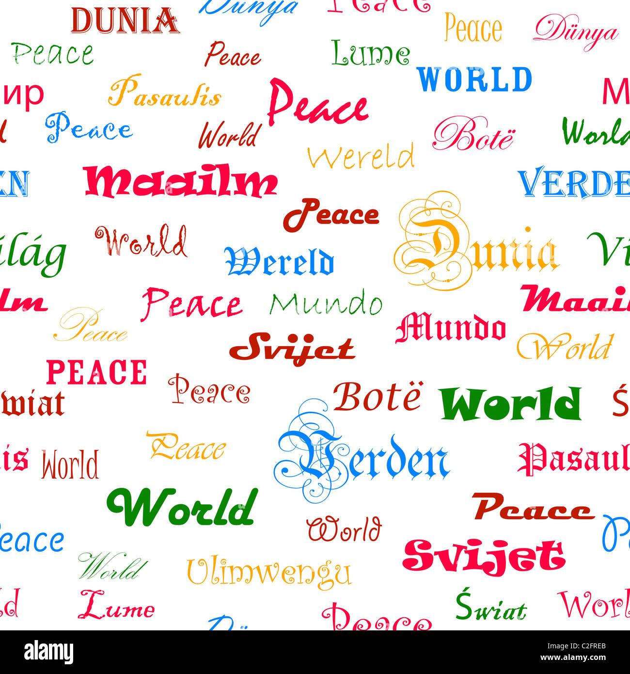 La Paz Papel Tapiz Sin Fisuras Con La Palabra Paz En Diferentes Idiomas Fotografía De Stock Alamy