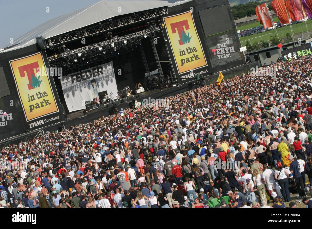 """'T en el Parque"""", festival anual de música, en Balado, en Escocia. Imagen De Stock"""