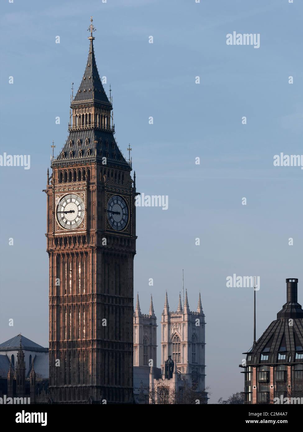 El Big Ben, las Casas del Parlamento, en Westminster, Londres. Foto de stock