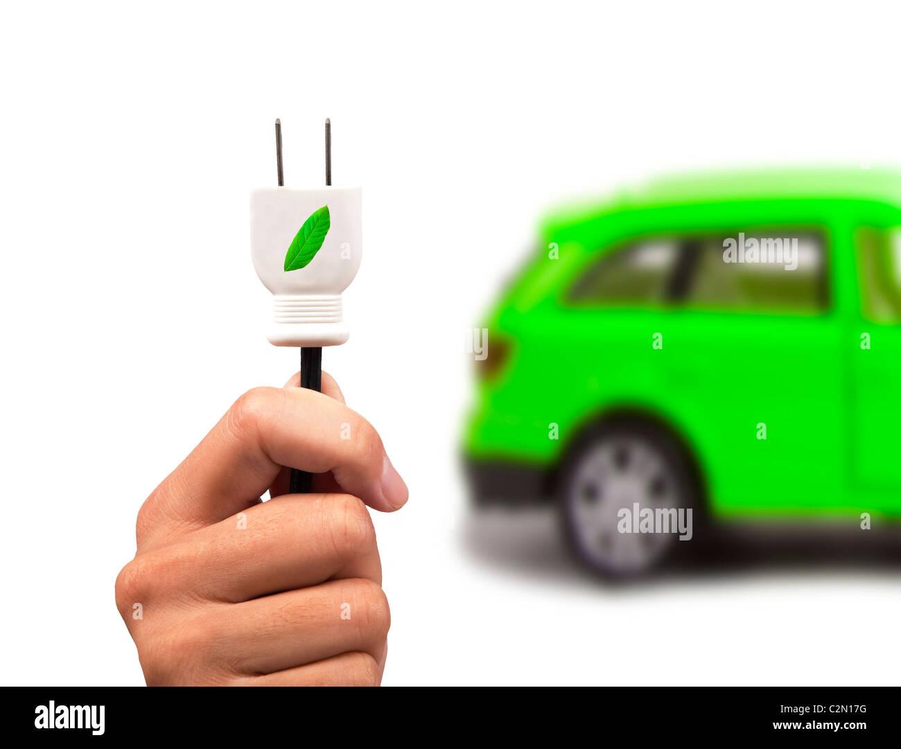 Coche eléctrico y verde coche concepto Imagen De Stock