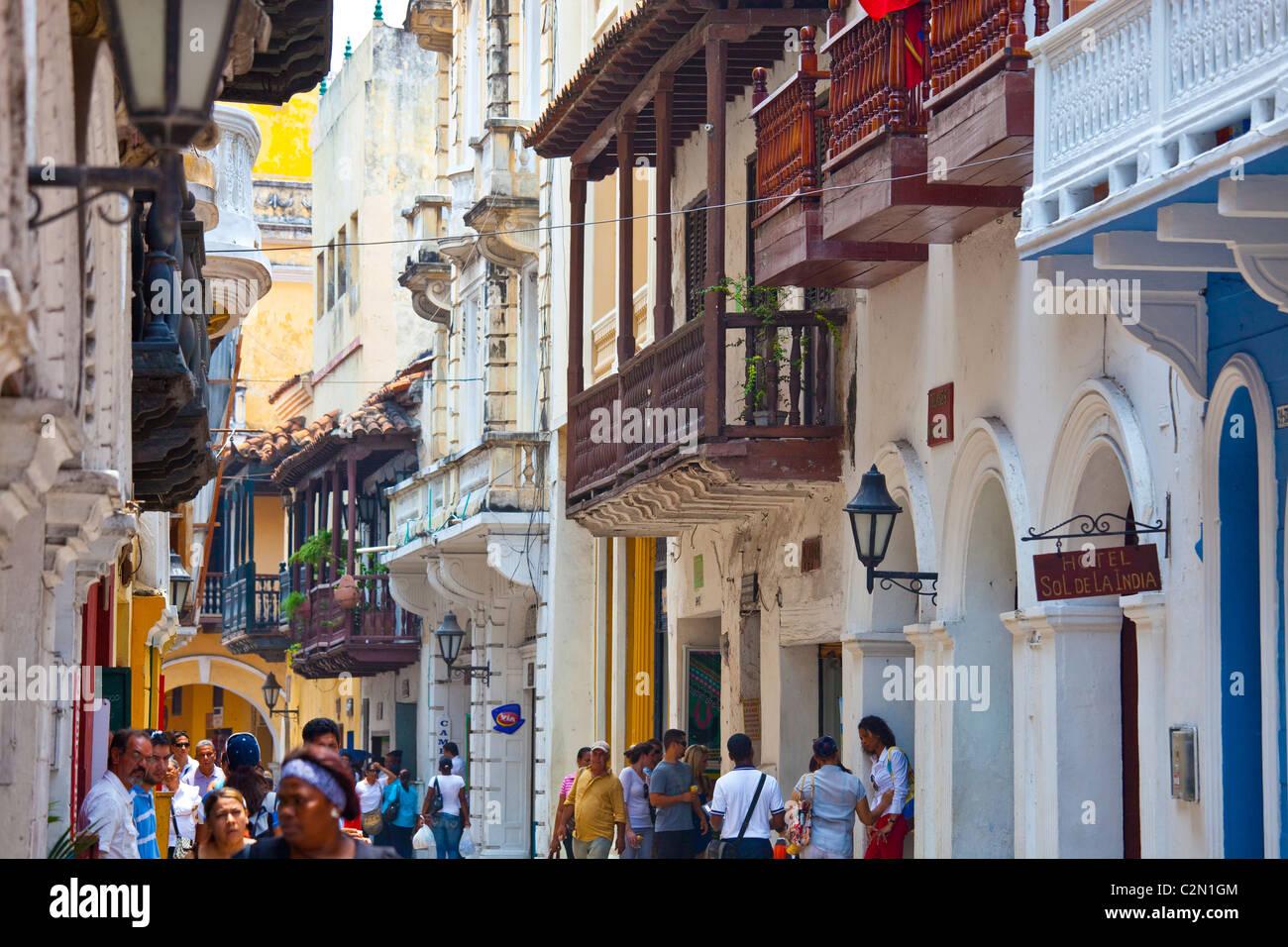 Casco antiguo de la ciudad, Cartagena de Indias, Colombia Imagen De Stock