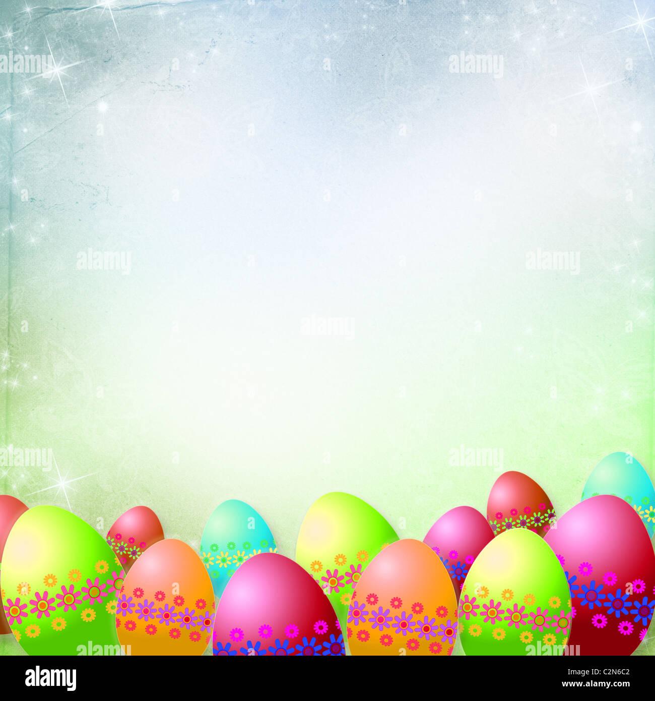 Resorte o antecedentes de Pascua y huevos de pascua con coloridas flores que cuelgan sobre cintas Foto de stock