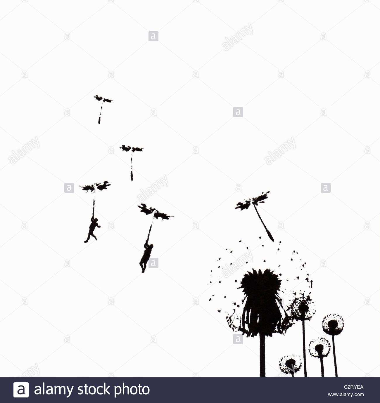 La gente flotando sobre semillas de diente de león Imagen De Stock
