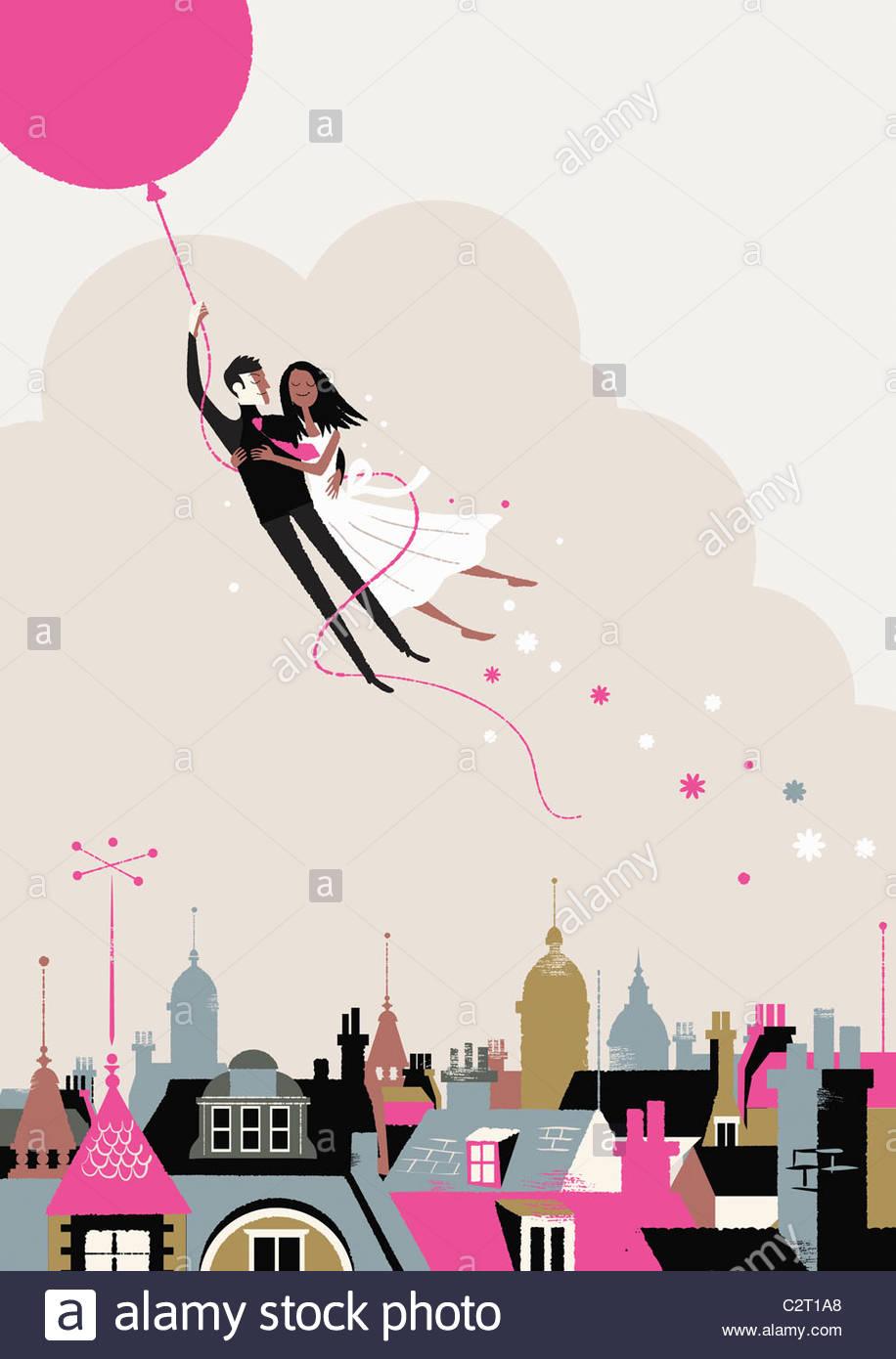 La novia y el novio volar en globo de helio Imagen De Stock