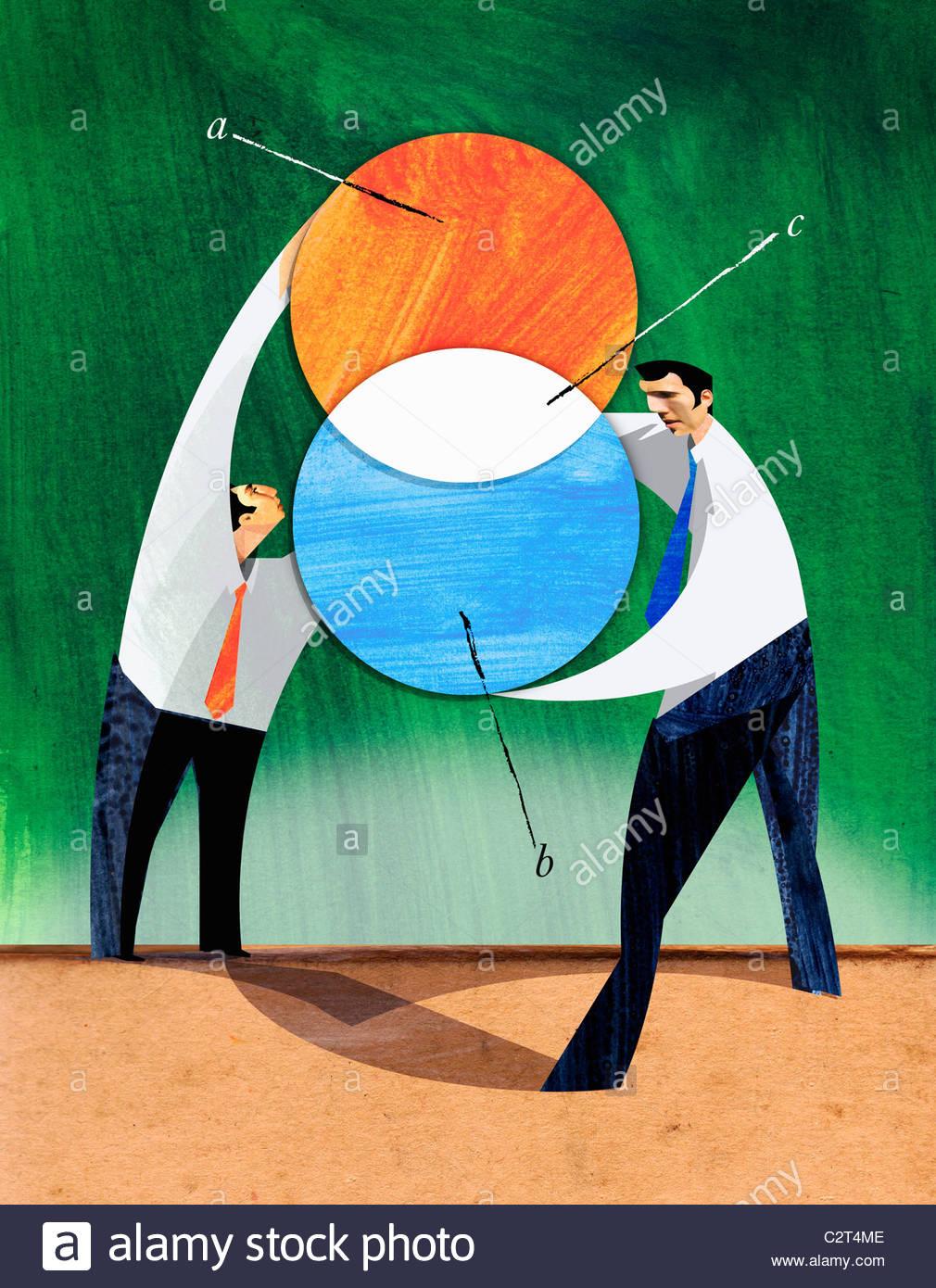 Los empresarios mantiene círculos en intersección Imagen De Stock