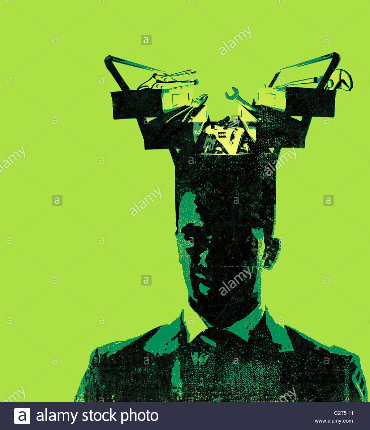 Empresario con toolbox viniendo desde su cabeza Imagen De Stock