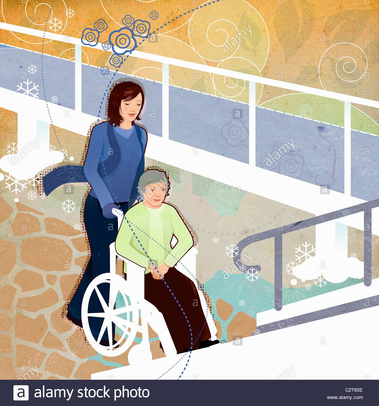 Empujando una mujer anciana en silla de ruedas Imagen De Stock
