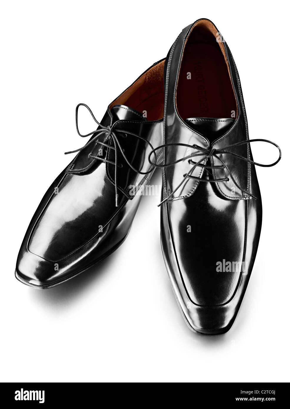 Mens zapatos de charol negro Imagen De Stock