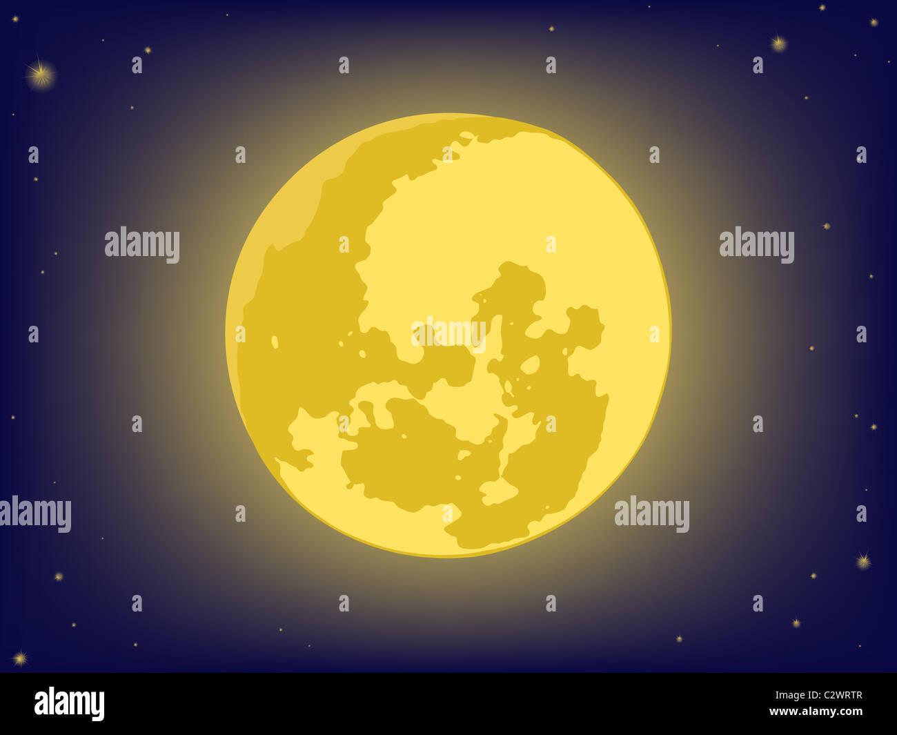 La luna en el cielo de la noche. antecedentes vectoriales Foto de stock