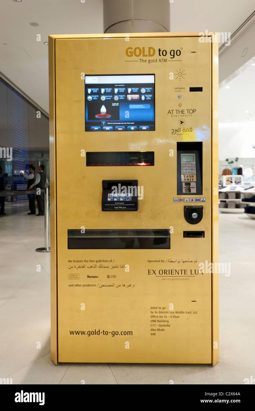 Máquina expendedora de oro llamado oro para ir a Burj Dubai, en los Emiratos Árabes Unidos, EAU Imagen De Stock