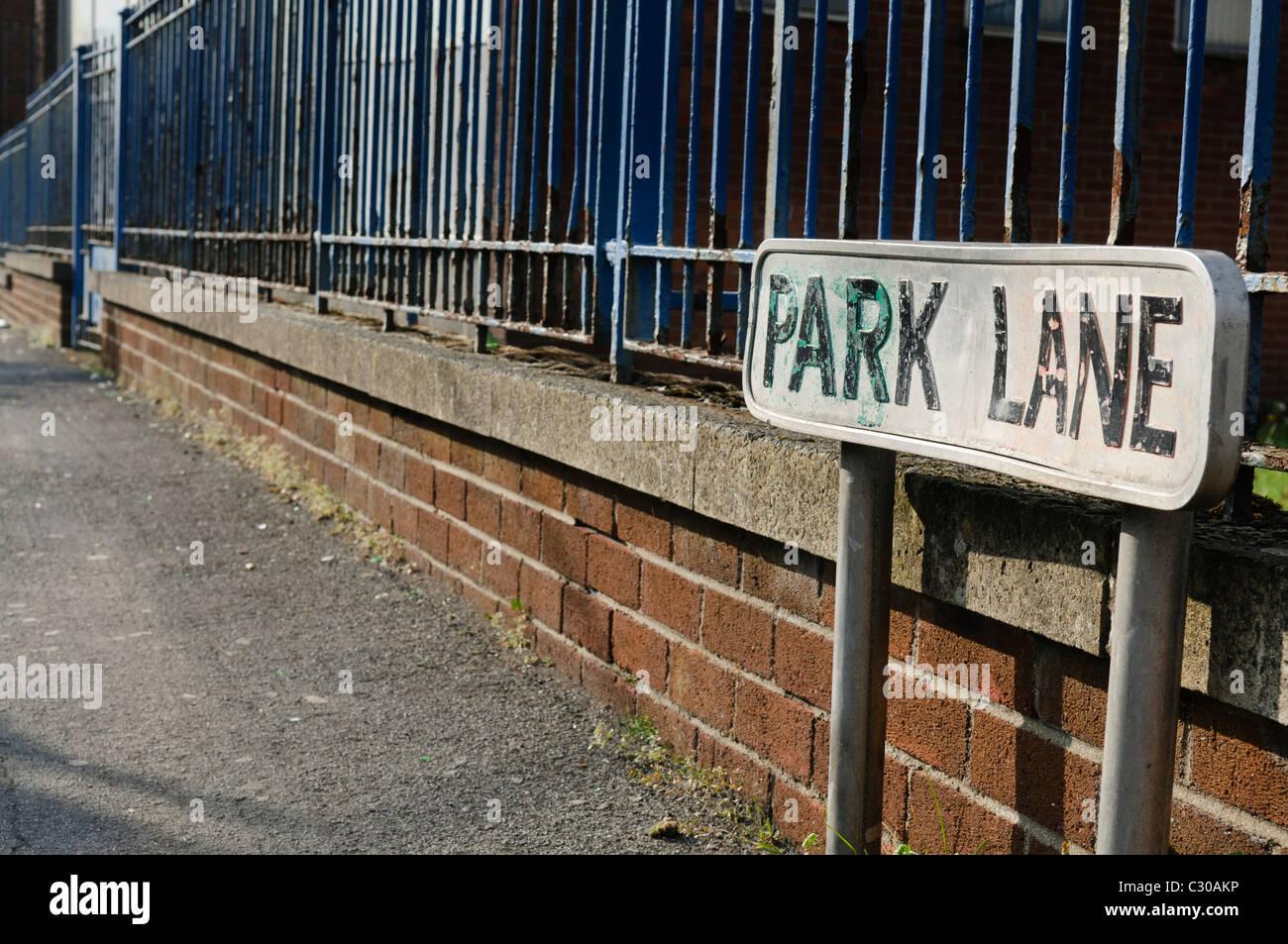 Señal de calle 'Park Lane' Foto de stock