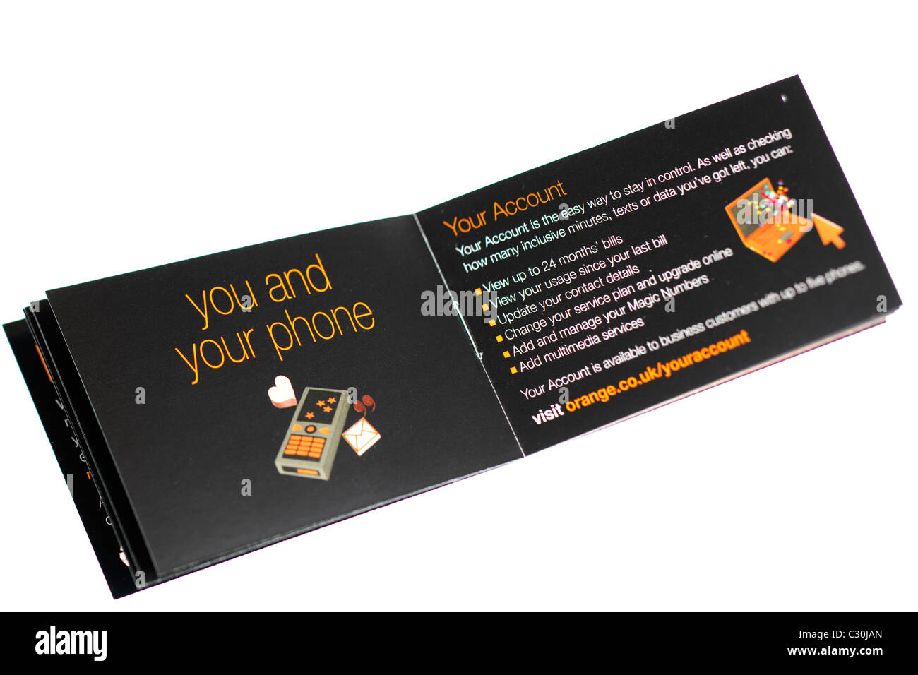 Orange mobile phone folleto . Sólo EDITORIAL Foto de stock