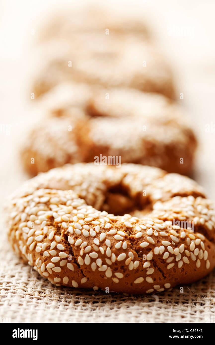 Pan rústico fresco/bagels, someras dof Imagen De Stock