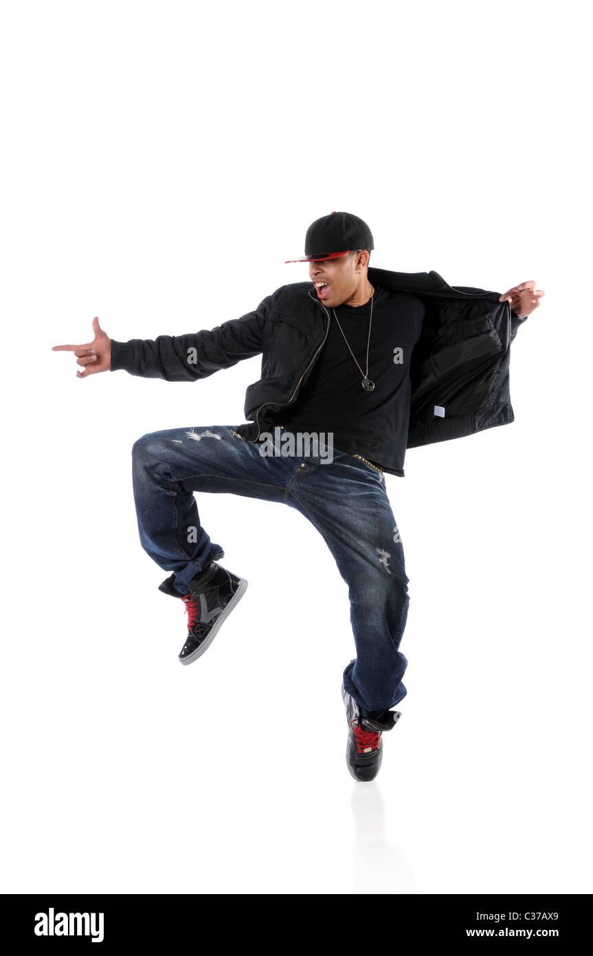Retrato de bailarina de hip hop Afroamericano aislado sobre fondo blanco.  Imagen De Stock d0bf6a45570