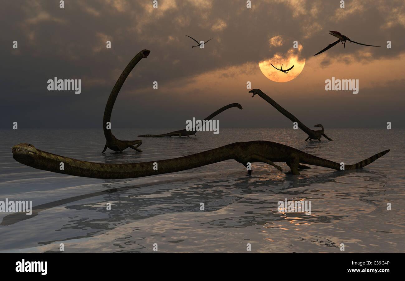 Un grupo de reptiles Tanystropheus. Imagen De Stock