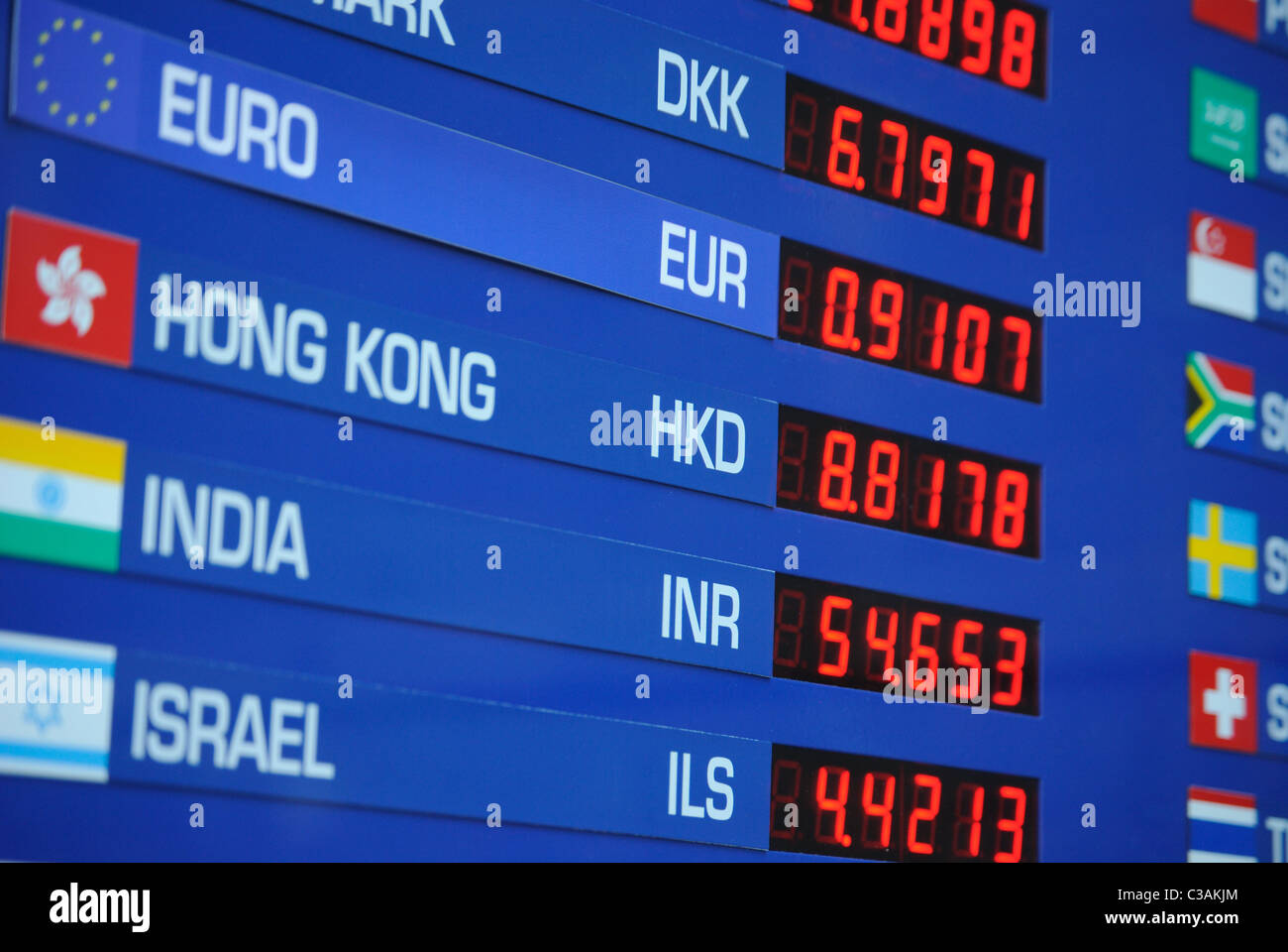 Letrero con tasas de cambio de las diferentes monedas internacionales. Foto de stock