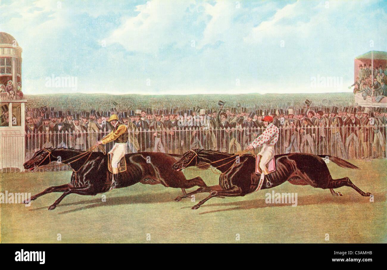El Flying Dutchman y Voltigeur ejecutando la gran coincidencia en el Hipódromo de York, York, Inglaterra, 15 Imagen De Stock