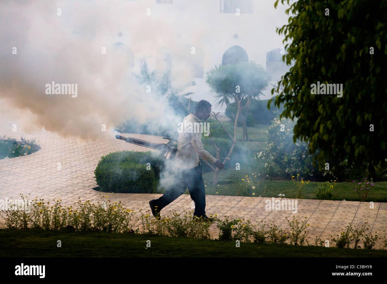 Al anochecer y al amanecer cada día, un hombre camina alrededor del complejo vacacional expulsando el humo Imagen De Stock