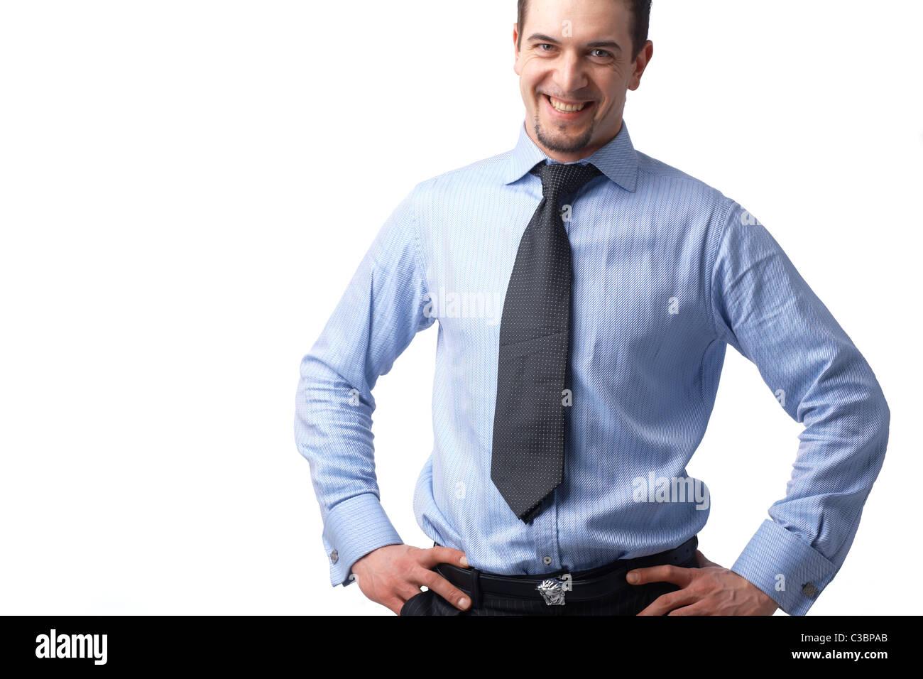 Retrato de empresario exitoso sonriendo sobre fondo blanco. Imagen De Stock