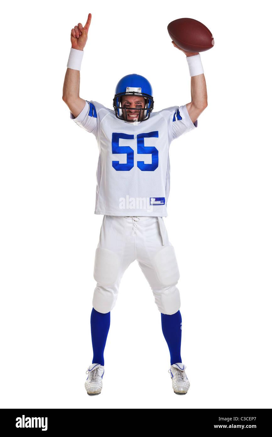 Foto de un jugador de fútbol americano, recortadas sobre un fondo blanco. Imagen De Stock