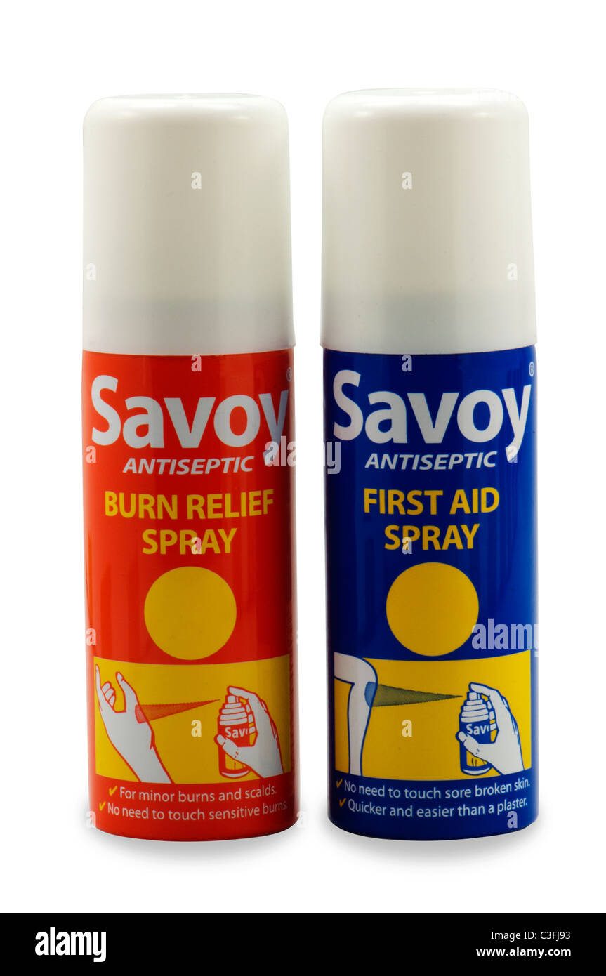 Quemar el socorro y primeros auxilios spray antiséptico picazón alivio del dolor Imagen De Stock