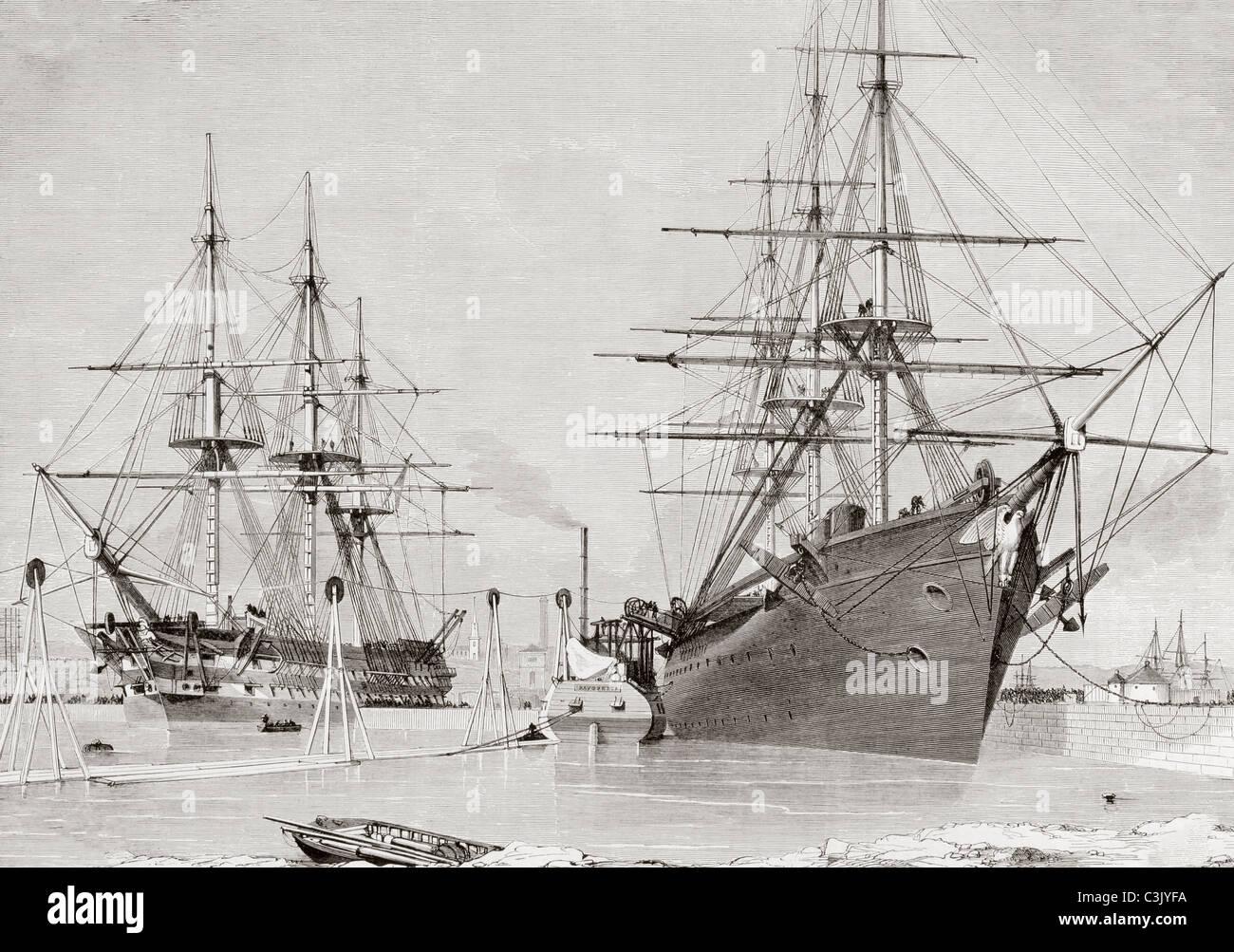 La conversión de los buques de guerra HMS Agamemnon y el USS Niagara teniendo a bordo de cable a sentar para el Foto de stock
