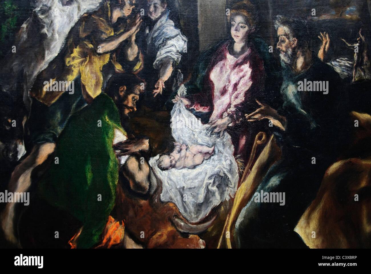 Detalle La Adoracion De Los Pastores Ca 1610 De El Greco