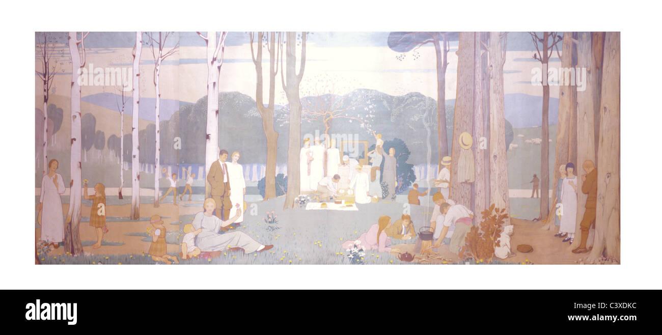 2Verano, por Frederic Cayley Robinson. Londres, Inglaterra, a comienzos del siglo XX. Imagen De Stock