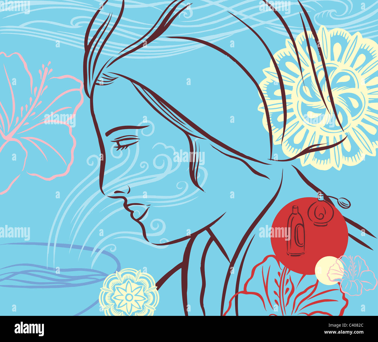 Ilustración de una mujer vistiendo una toalla sobre su cabeza Imagen De Stock