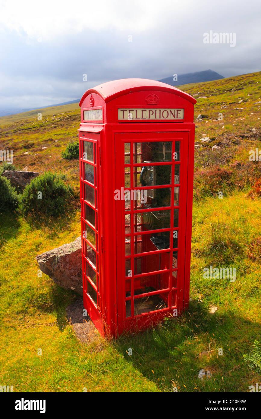 1, llamada telefónica, inglés británico, Gran Bretaña, Highlands, cabina, comunicación, nombre de marca, teléfono Foto de stock