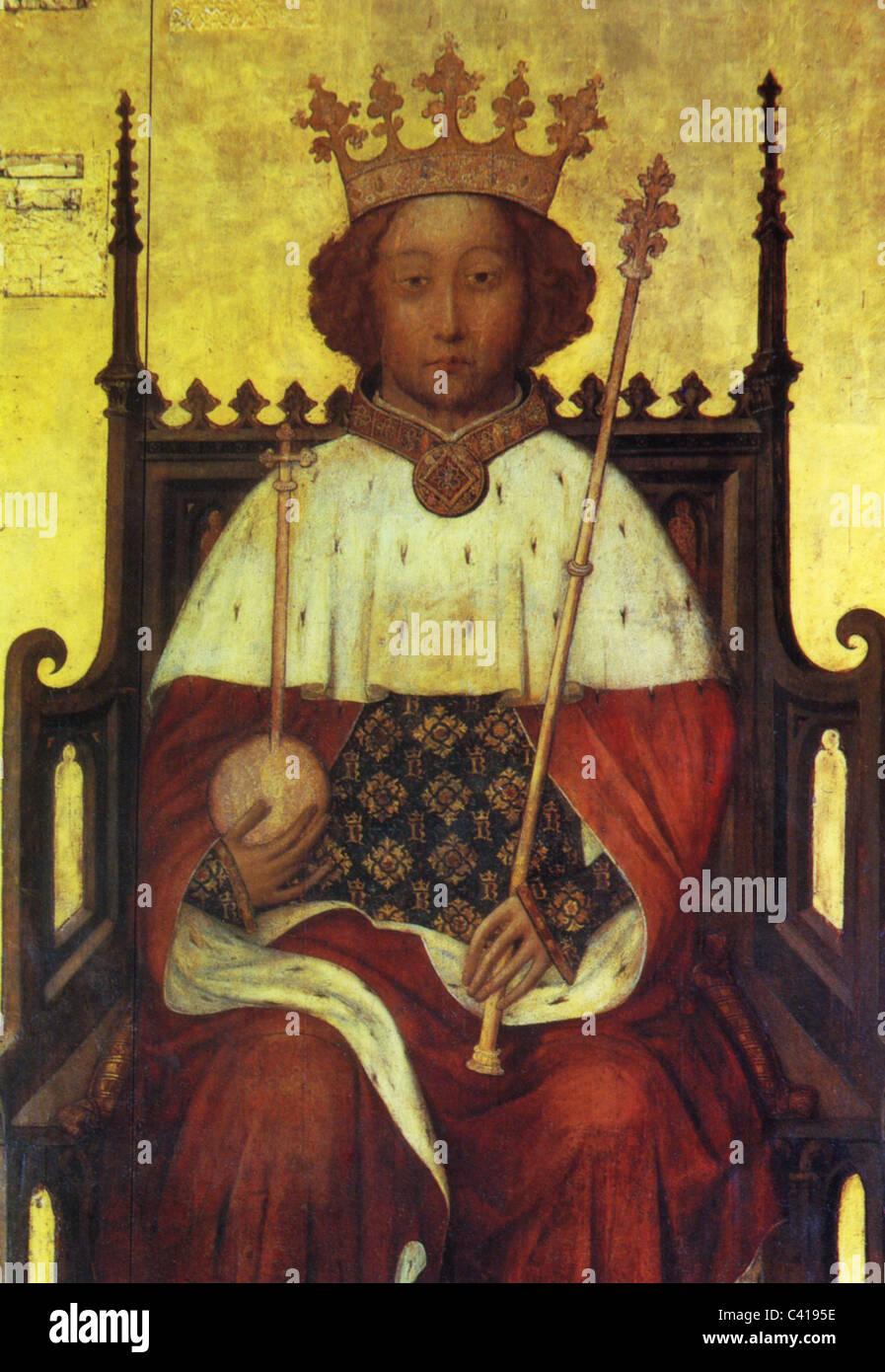 Richard II, 6.1.1367 - 14.2.1400, Rey de Inglaterra 16.7.1367 - 29.9.1399, la mitad de longitud, sobre el trono, Imagen De Stock