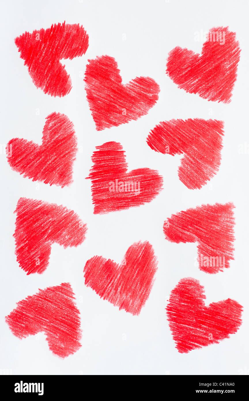 Amor Corazones De Color Rojo Dibujo A Lápiz De Color Foto Imagen