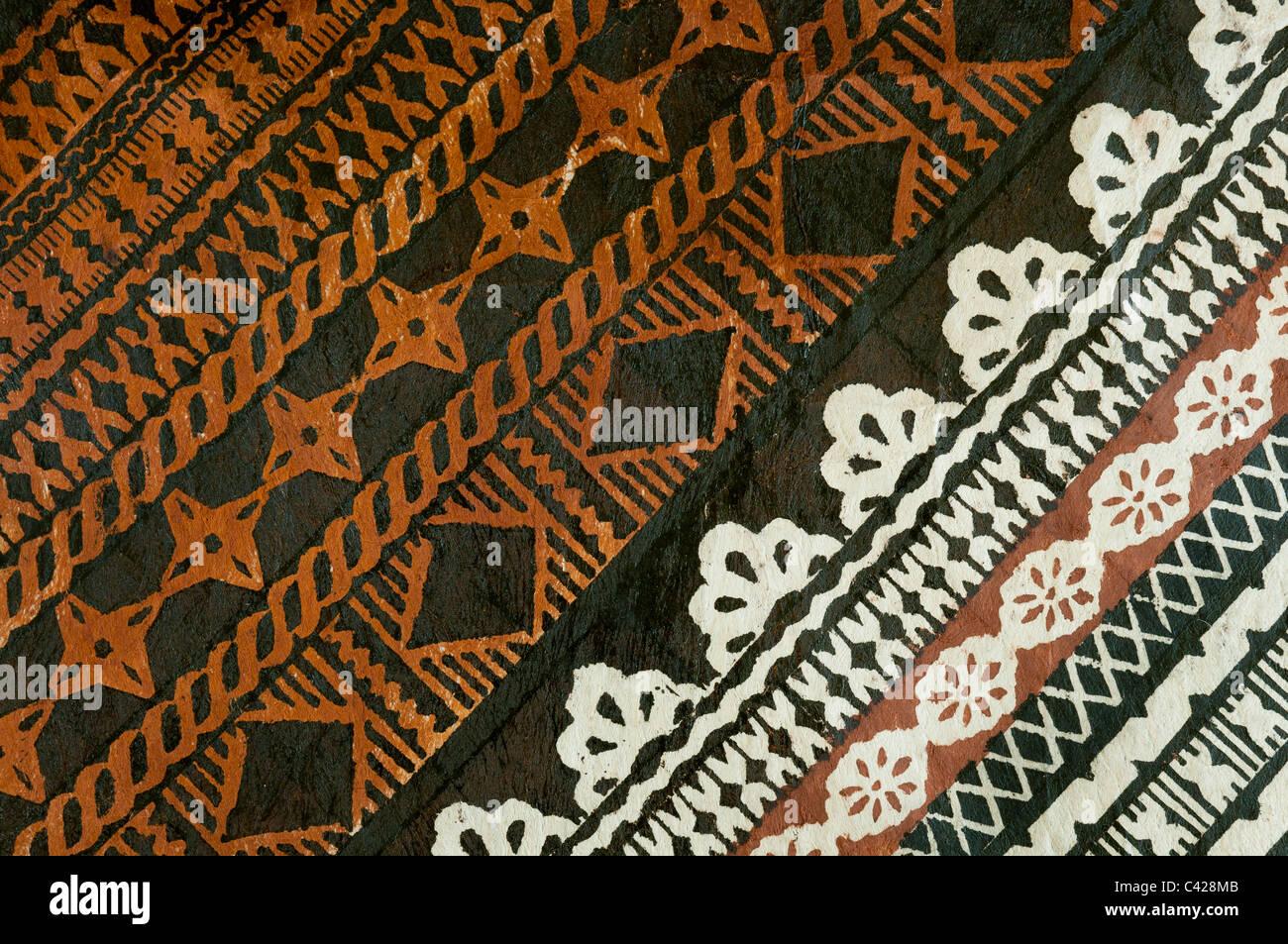 Detalle de la tapa; diseño de tela Tongo village, Qamea Island, Fiji. Imagen De Stock