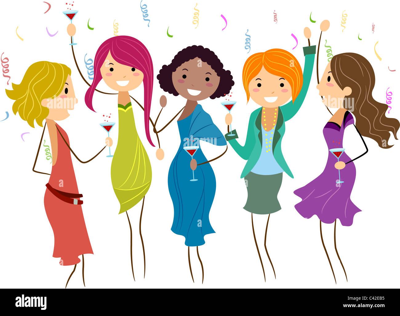 Ilustración De Las Mujeres En Una Despedida De Soltera Foto