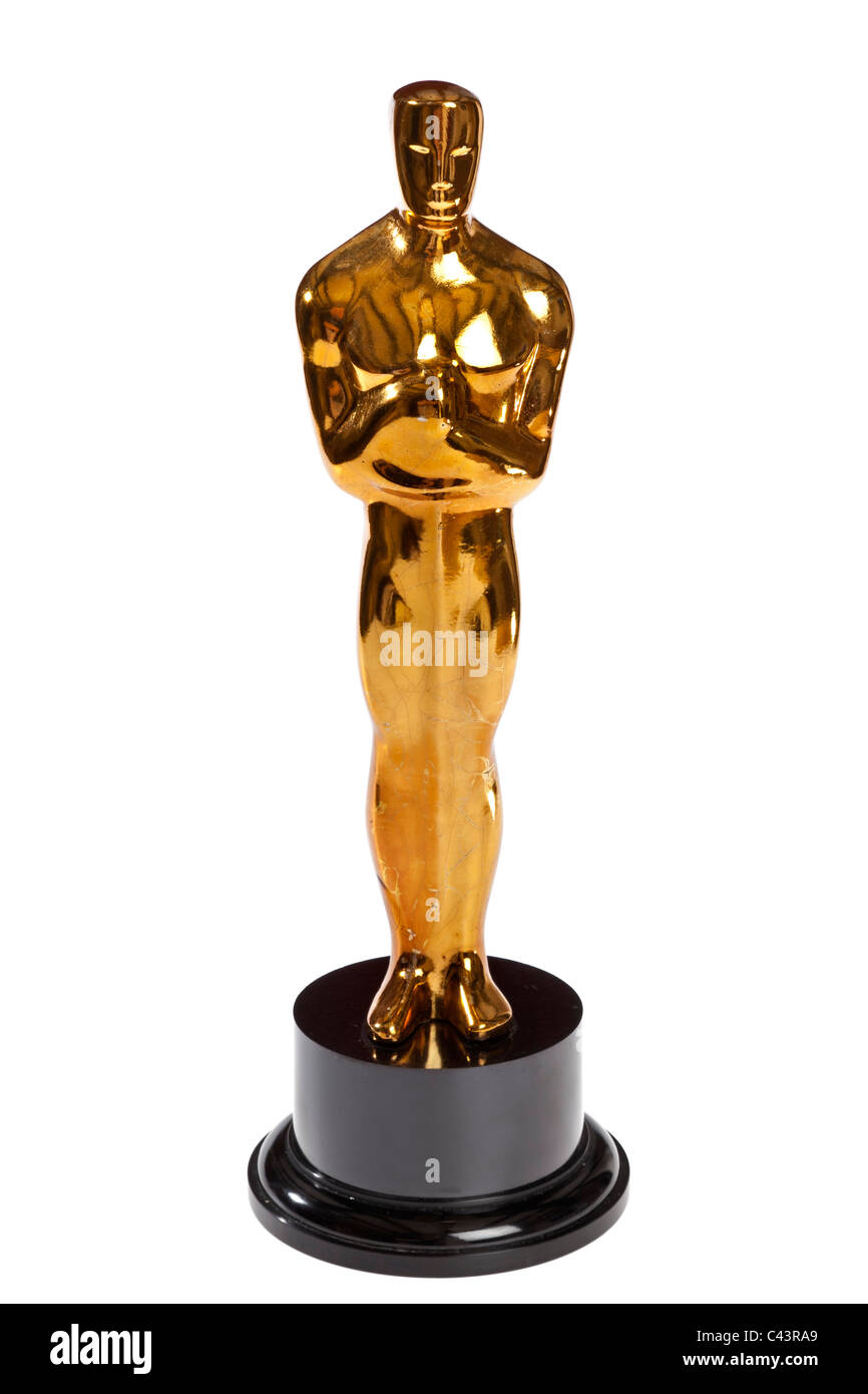 Estatuilla similar a un Oscar producida como una parodia prop para un programa de televisión satírico Imagen De Stock