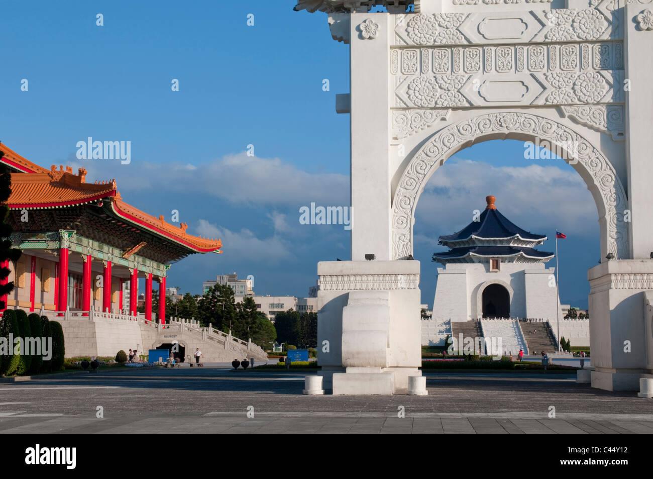 Asia, Taiwán, Taipei, RoC, China, ciudad capital, Chiang Kai Shek, Memorial Hall, el día soleado, Landmark, Imagen De Stock