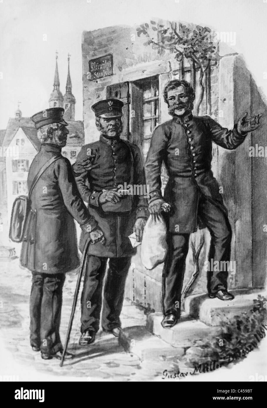 Carteros en el siglo XIX. Imagen De Stock