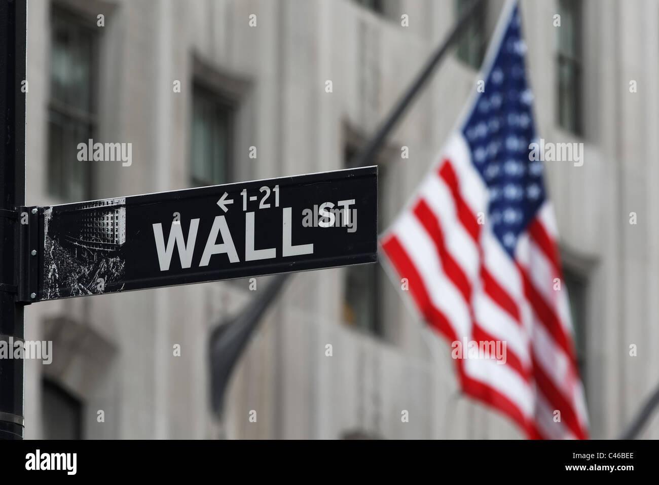 El área de Wall Street en Nueva York, el distrito financiero de la ciudad alberga la Bolsa de Nueva York. Imagen De Stock